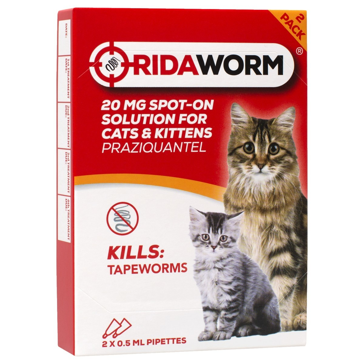 Ridaworm 20mg Spot On Wormer For Cats 2 Pack From 3 59