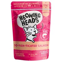 Meowing Heads Complete Adult Wet Cat Food Pouches (So-fish-ticated Salmon) big image