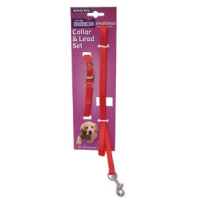 Ancol Puppy and Small Dog Collar and Lead Set Softweave Red big image