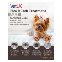 VetUK Flea and Tick Treatment Plus for Small Dogs (3 Pipettes) big image