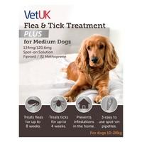VetUK Flea and Tick Treatment Plus for Medium Dogs (3 Pipettes) big image