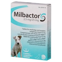 Milbactor 2.5mg/25mg Tablets for Small Dogs and Puppies (4 Tablets) big image