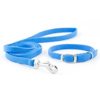 Ancol Puppy and Small Dog Collar and Lead Set Softweave Blue big image
