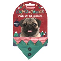 Rosewood Cupid & Comet Party On Light Up Elf Bandana for Dogs big image