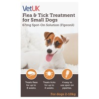 VetUK Flea and Tick Treatment for Small Dogs (4 Pipettes) big image