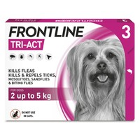 FRONTLINE Tri-Act Flea and Tick Treatment for Extra Small Dogs (3 Pipettes) big image