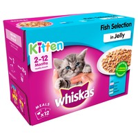 Whiskas 2-12 Months Kitten Wet Food Pouches in Jelly (Fish Selection) big image