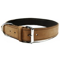 Outhwaite Natural Leather Padded Collar for Dogs big image