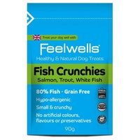 Feelwells Healthy & Natural Fish Crunchies Dog Treats (Salmon, Trout, White Fish) 90g big image