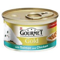 Purina Gourmet Gold Cat Food 12 x 85g Tins (with Salmon & Chicken in Gravy) big image