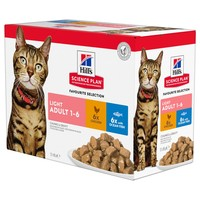 Hills Science Plan Light Adult Cat Food Pouches (Favourite Selection) big image