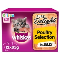 Whiskas 2-12mths Pure Delight Poultry Selection in Jelly Kitten Pouches big image
