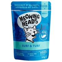 Meowing Heads Complete Adult Wet Cat Food Pouches (Surf & Turf) big image