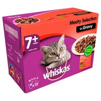 Whiskas 7+ Adult Cat Wet Food Pouches in Gravy (Meaty Selection) big image