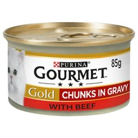 Purina Gourmet Gold Chunks in Gravy Wet Cat Food Tins (12 x 85g) big image