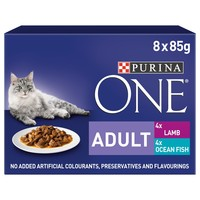 Purina One Adult Cat Wet Food Pouches (Ocean Fish and Lamb) big image