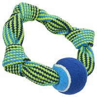 Buster Squeak Rope Circle Toy with Tennis Ball big image