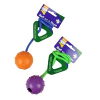 Good Boy Rubber Ball on Rope Dog Toy big image
