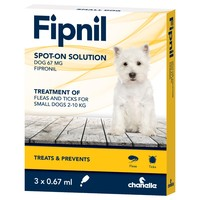 Fipnil Spot On Flea and Tick Treatment for Small Dogs (3 Pipettes) big image