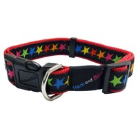 Hem & Boo Adjustable Nylon Dog Collar (Black Stars) big image