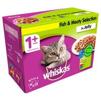 Whiskas 1+ Adult Cat Wet Food Pouches in Jelly (Fish & Meaty Selection) big image