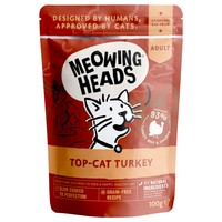Meowing Heads Complete Adult Wet Cat Food Pouches (Top Cat Turkey) big image