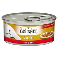 Purina Gourmet Gold Cat Food 12 x 85g Tins (with Beef in Gravy) big image