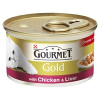 Purina Gourmet Gold Cat Food 12 x 85g Tins (with Chicken & Liver in Gravy) big image