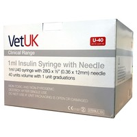 VetUK 1ml U40 Insulin Syringe with Needle (Box of 100) big image