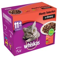 Whiskas 11+ Adult Cat Wet Food Pouches in Gravy (Meaty Selection) big image