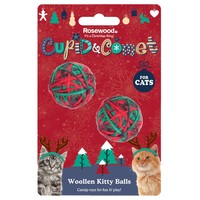 Rosewood Cupid & Comet Woollen Kitty Balls for Cats (Pack of 2) big image