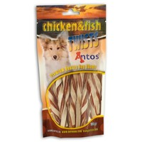 Antos Chicken & Fish Twists Dog Treats 100g big image