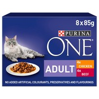 Purina One Adult Cat Wet Food Pouches (Chicken and Beef) big image