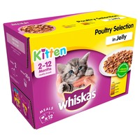 Whiskas 2-12 Months Kitten Wet Food Pouches in Jelly (Poultry Selection) big image