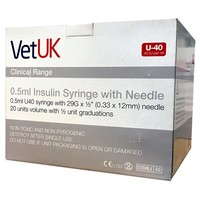 VetUK 0.5ml U40 Insulin Syringe with Needle (Box of 100) big image