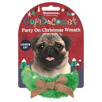 Rosewood Cupid & Comet Party On Light Up Christmas Wreath for Dogs big image