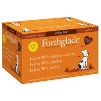 Forthglade Just Chicken/Chicken with Liver/Turkey Dog Food Variety Pack (12 x 395g) big image