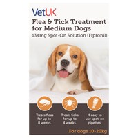 VetUK Flea and Tick Treatment for Medium Dogs (4 Pipettes) big image