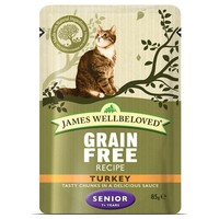 James Wellbeloved Grain Free Senior Cat Wet Food Pouches (Turkey) big image