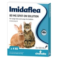 Imidaflea Spot-On Solution 80mg for Large Cats and Rabbits (3 Pipettes) big image