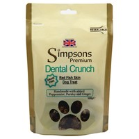 Simpsons Premium Dental Crunch Red Fish Skin Dog Treats 100g big image