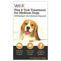 VetUK Flea and Tick Treatment for Medium Dogs (4 Pipettes) big image