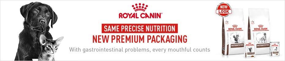 Same precise nutrition, new premium packaging - Royal Canin Gastrointestinal