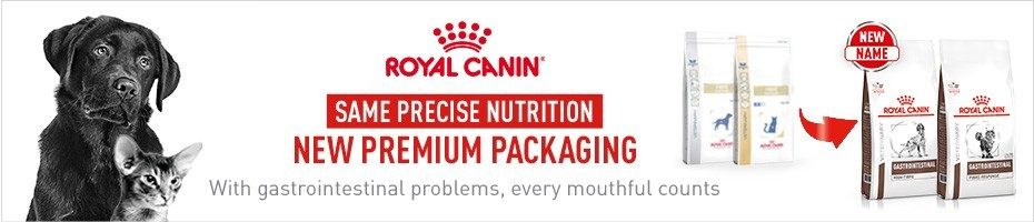 Same precise nutrition, new premium packaging - With gastrointestinal problems, every mouthful counts